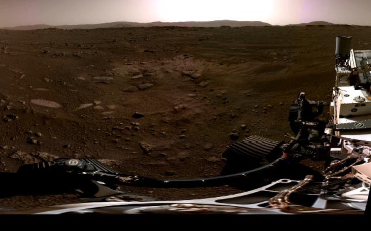 Tuesday.  The first panoramic photo taken by the rover of diligence