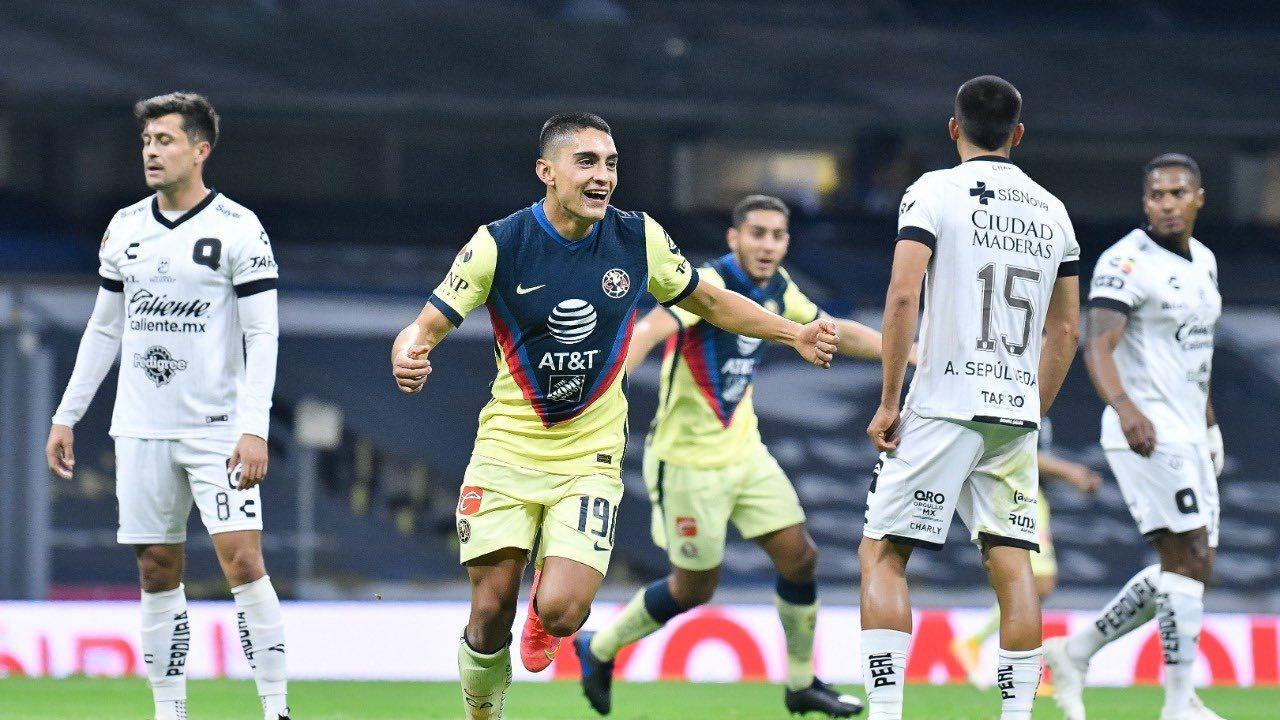 Raul Jimenez with young club America midfielder, Santiago Naveda