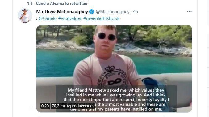 Canello reveals his life values to Matthew McConaughey