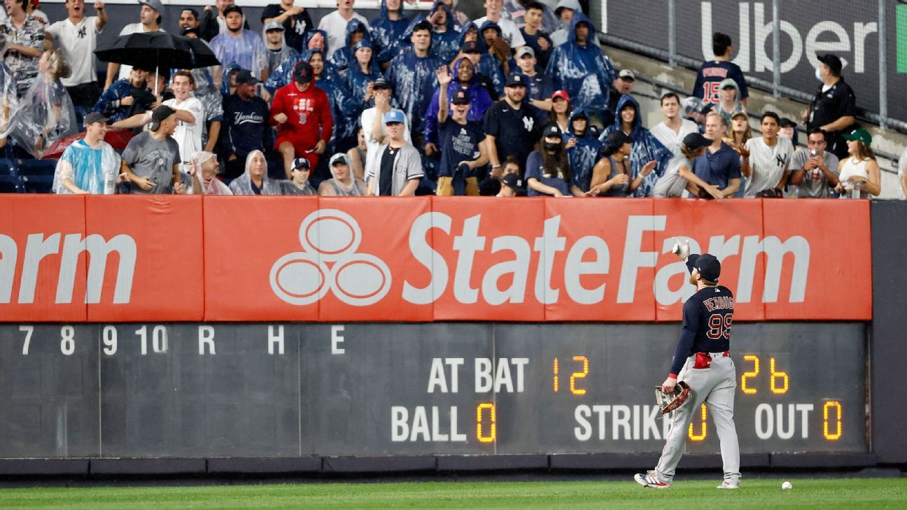 A fan who threw the ball at Alex Verduco at Yankee Stadium has been given a life ban at MLP grounds.
