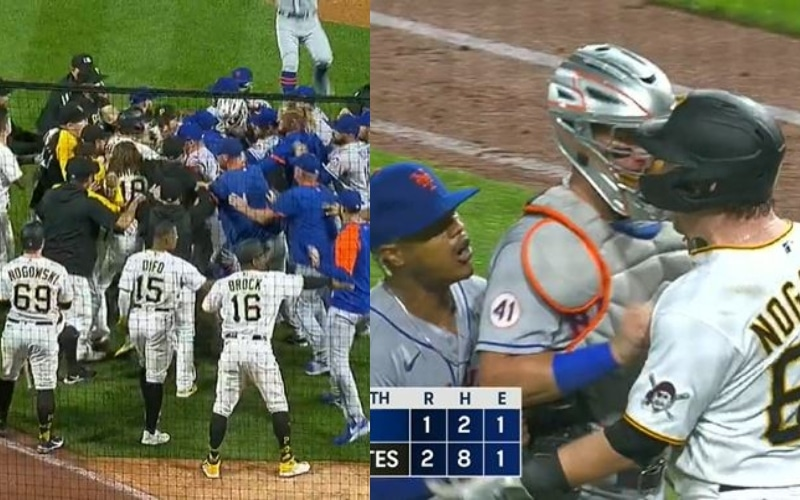 Marcus Stroman challenges a player to fight and the benches between the Mets and Pirates are empty