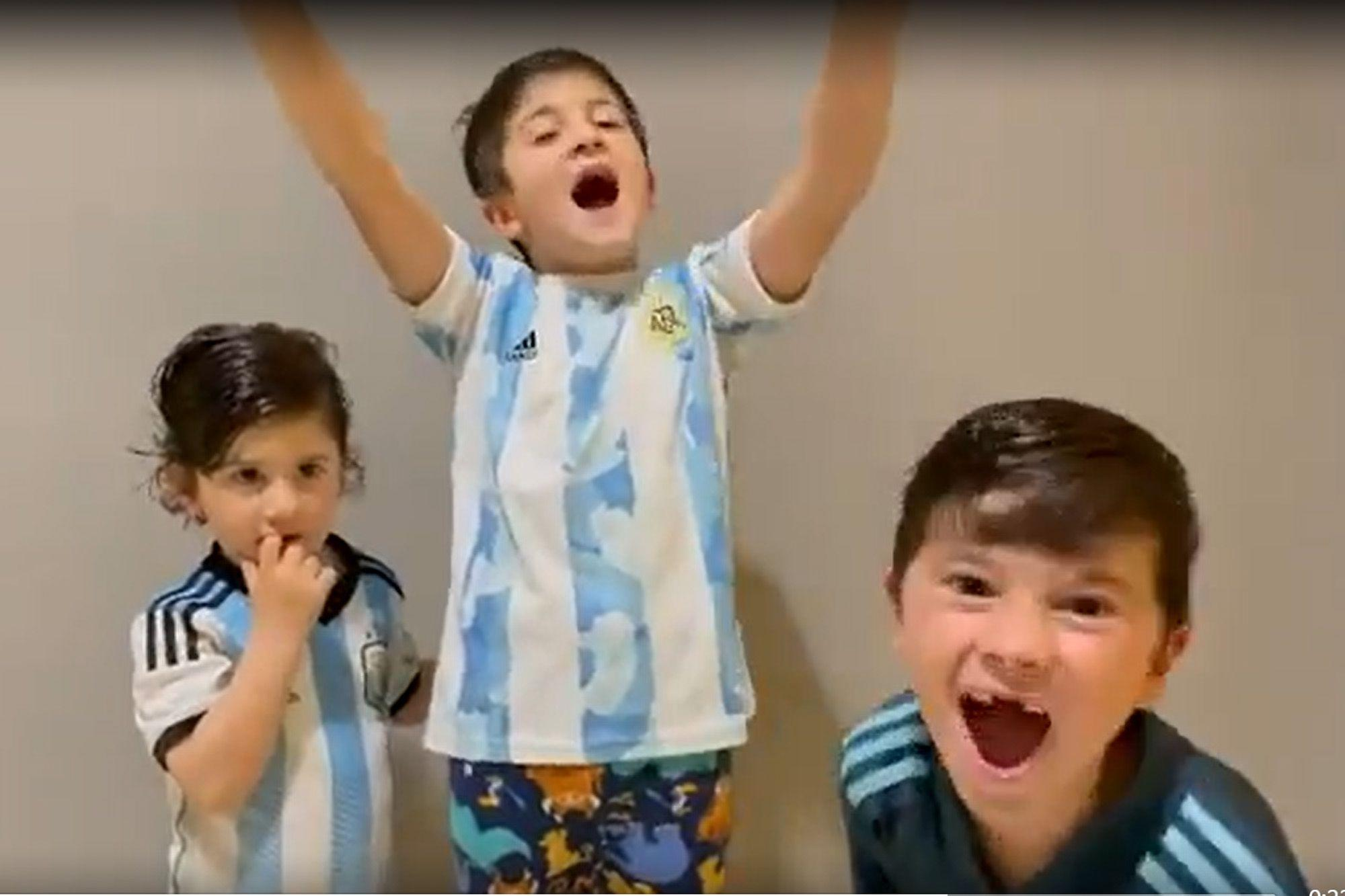 Video of Messi's children in the ecstatic celebration of the title