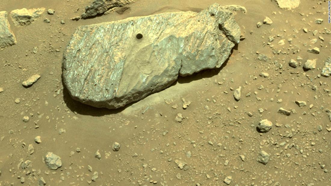 The diligent rover successfully drills its first rock on Mars